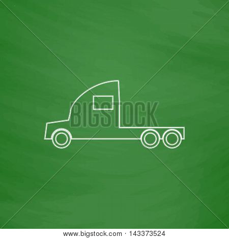 cargo truck Outline vector icon. Imitation draw with white chalk on green chalkboard. Flat Pictogram and School board background. Illustration symbol