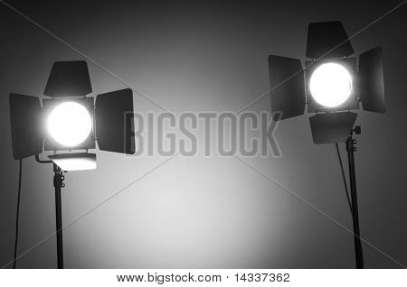 Two barn door lights in photo studio