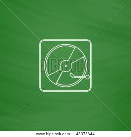 Vinyl turntable Outline vector icon. Imitation draw with white chalk on green chalkboard. Flat Pictogram and School board background. Illustration symbol