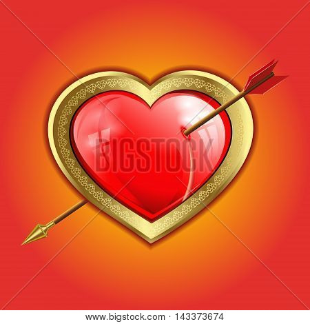 volume red glare,the reflection of the Windows of the heart with a gold border is punched with an arrow with a gold tip