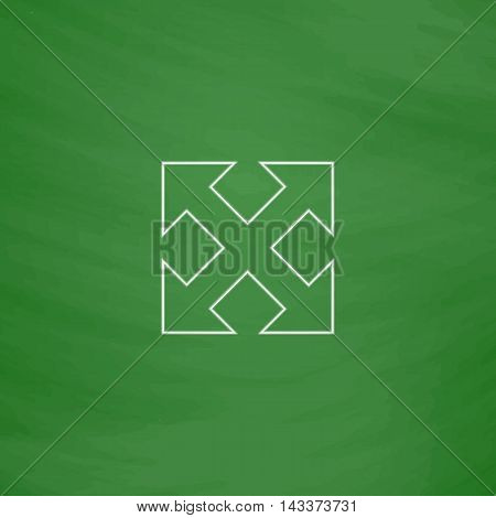 Enlarge Outline vector icon. Imitation draw with white chalk on green chalkboard. Flat Pictogram and School board background. Illustration symbol