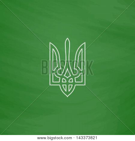 Trident Outline vector icon. Imitation draw with white chalk on green chalkboard. Flat Pictogram and School board background. Illustration symbol