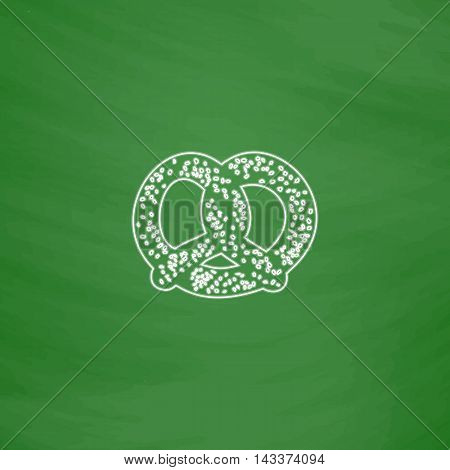 Pretzel Outline vector icon. Imitation draw with white chalk on green chalkboard. Flat Pictogram and School board background. Illustration symbol