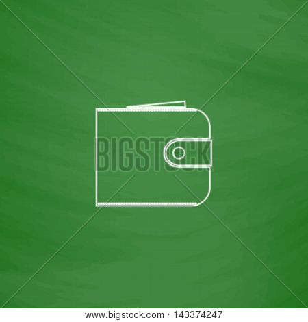 pouch Outline vector icon. Imitation draw with white chalk on green chalkboard. Flat Pictogram and School board background. Illustration symbol