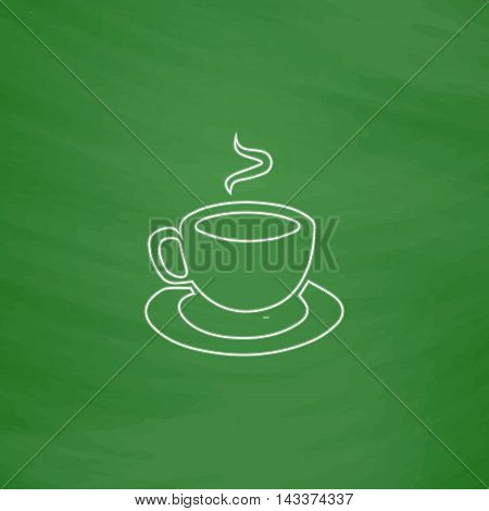 Hot coffe Outline vector icon. Imitation draw with white chalk on green chalkboard. Flat Pictogram and School board background. Illustration symbol
