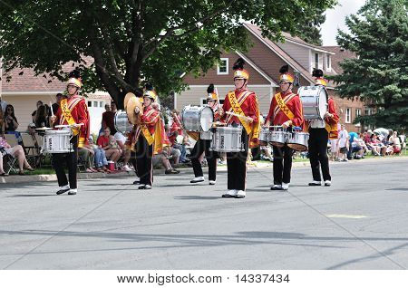 Henry Sibley High School Marching Band Drummers Performing In A Parade