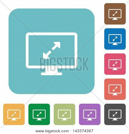Flat screen resolution icons on rounded square color backgrounds.