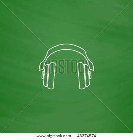 Headphones Outline vector icon. Imitation draw with white chalk on green chalkboard. Flat Pictogram and School board background. Illustration symbol