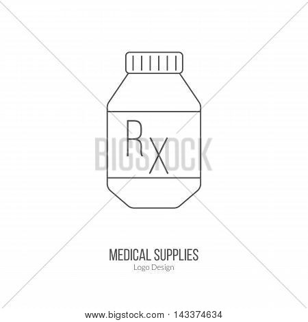 Prescription pill bottle. Single logo in modern thin line style isolated on white background. Outline medical symbol. Simple mono linear pictogram. Stroke vector logotype template.