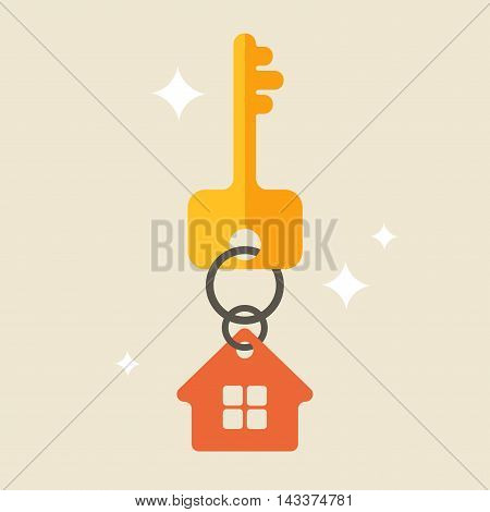 Flat illustration with key and house tag isolated