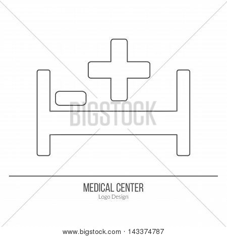 Hospital bed with a medical cross and pillow. Single logo in modern thin line style isolated on white background. Outline medical symbol. Simple mono linear pictogram. Stroke vector logotype template.