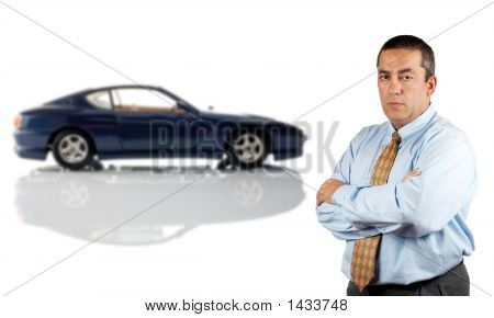 Serious Businessman And The Car