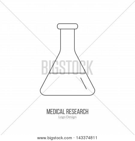Chemistry flask laboratory glassware. Single logo in modern thin line style isolated on white background. Outline medical symbol. Simple mono linear pictogram. Stroke vector logotype template.