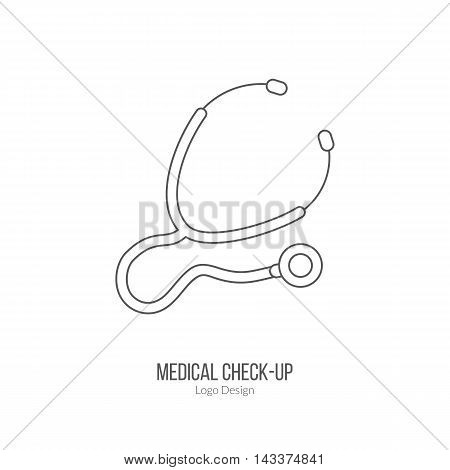 Medical stethoscope. Single logo in modern thin line style isolated on white background. Outline medical symbol. Simple mono linear pictogram. Stroke vector logotype template.