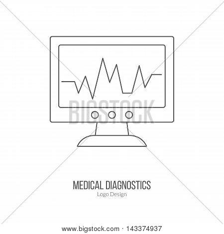Heart rate monitor ECG equipment. Single logo in modern thin line style isolated on white background. Outline medical symbol. Simple mono linear pictogram. Stroke vector logotype template.