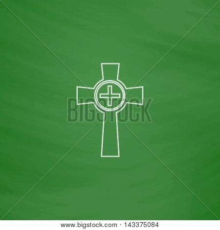 Tombstone Outline vector icon. Imitation draw with white chalk on green chalkboard. Flat Pictogram and School board background. Illustration symbol