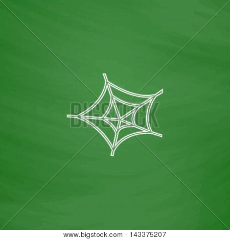 Spiderweb Outline vector icon. Imitation draw with white chalk on green chalkboard. Flat Pictogram and School board background. Illustration symbol