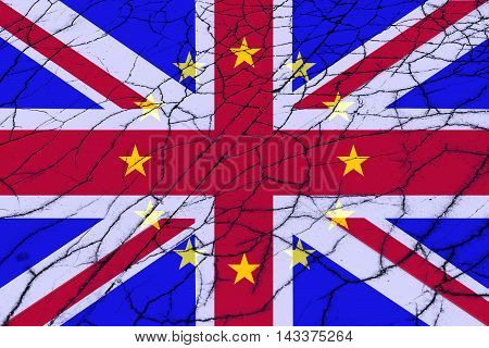 Brexit - United Kingdom flag, EU flag, cracks