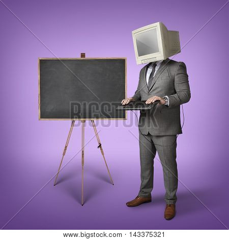 Blank blackboard and computer monitor on businessman head