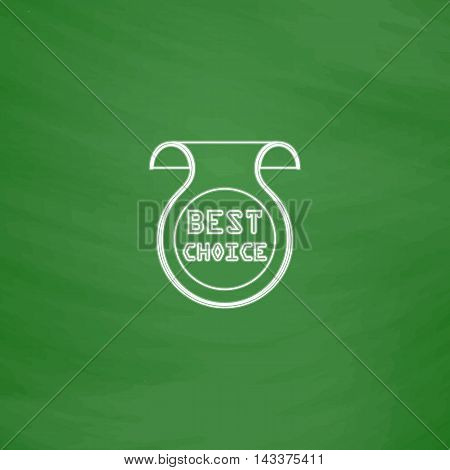 Best Choice Outline vector icon. Imitation draw with white chalk on green chalkboard. Flat Pictogram and School board background. Illustration symbol