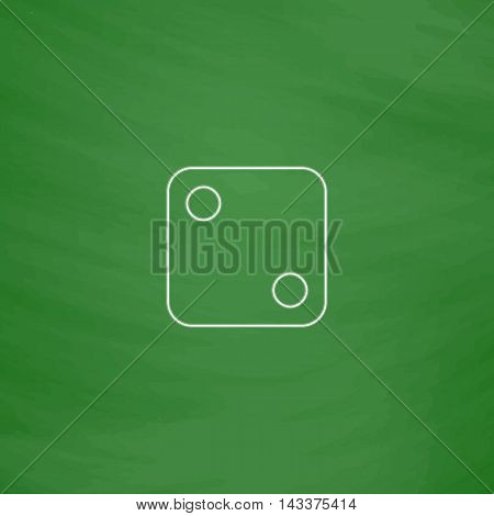 dice 2 Outline vector icon. Imitation draw with white chalk on green chalkboard. Flat Pictogram and School board background. Illustration symbol