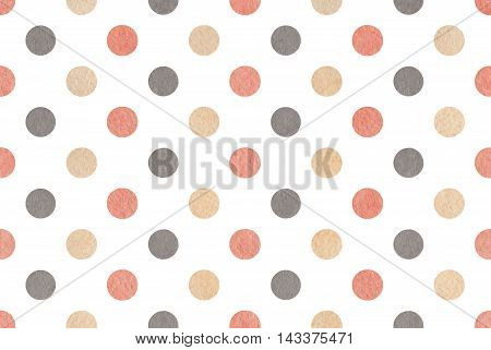 Watercolor Gray, Pink And Beige Polka Dot Background.