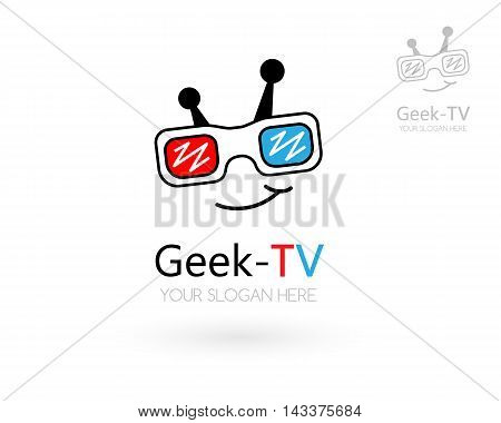 Geek TV logo template. Nerd icon for media game or video studio.
