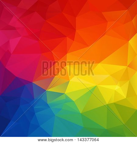 vector abstract irregular polygon background with a triangular pattern in full color spectrum rainbow colors
