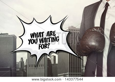 What are you waiting text on speech bubble with businessman wearing boxing gloves