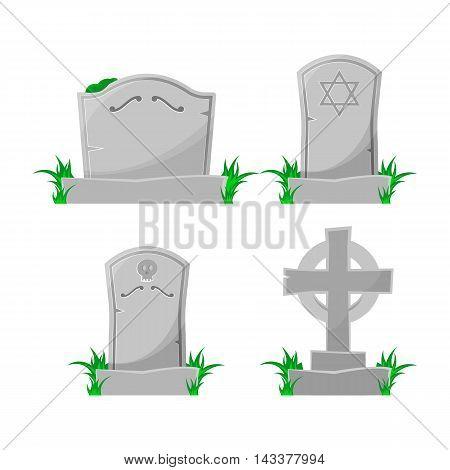 Set of cartoon grave. Vector illustration. Cartoon style.