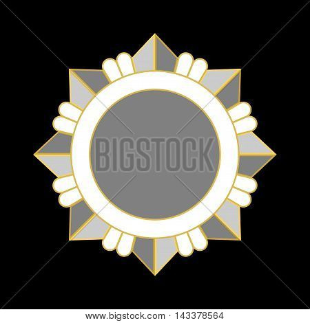 Medal award icon. Silver star order isolated on black background. Medallion design element. Metallic emblem. Blank for certificate winner decoration. Symbol first success win Vector illustration