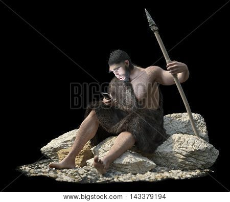 primitive man with smartphone on isolate black concept 3d illustration