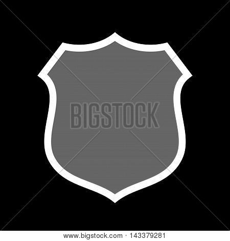 Shield icon. Gray sign isolated on black background. Symbol of protection arms coat and honor security safety. Flat graphic design. Medieval heraldic emblem. Vector illustration