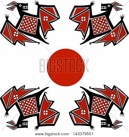 Ethnic pattern of American Indians: Aztecs, Mayans, Incas. Bat. Drawing in the Mexican style. Vector illustration.