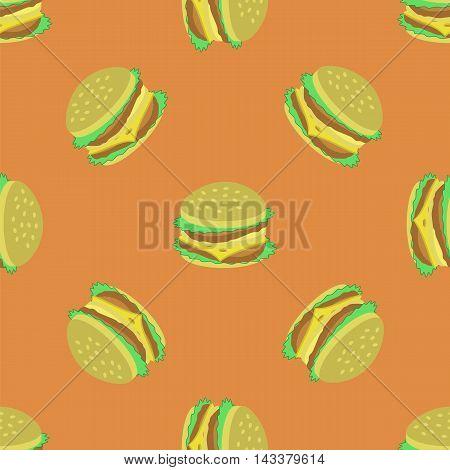 Hamburger Seamless Pattern on Orange Background. Set of Sandwiches. Unhealthy Fast Food
