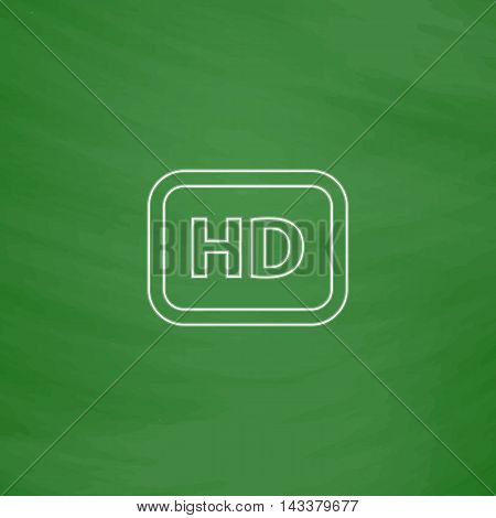 HD Outline vector icon. Imitation draw with white chalk on green chalkboard. Flat Pictogram and School board background. Illustration symbol