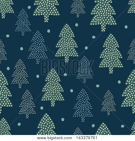 Christmas pattern - Xmas trees and snow. Happy New Year nature seamless background. Forest design for winter holidays. Vector winter holidays print for textile, wallpaper, fabric, wallpaper.
