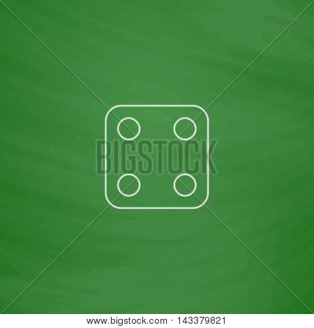 Dice Cube Outline vector icon. Imitation draw with white chalk on green chalkboard. Flat Pictogram and School board background. Illustration symbol