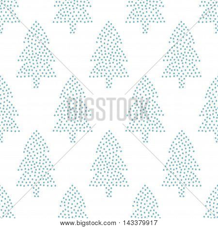 Simple seamless Christmas pattern -  Xmas trees on white background. Happy New Year background. Vector winter holidays design for textile, wallpaper, fabric, wallpaper.