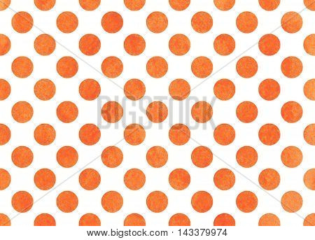 Watercolor Orange Polka Dot Background.
