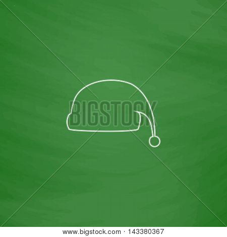 winter cap Outline vector icon. Imitation draw with white chalk on green chalkboard. Flat Pictogram and School board background. Illustration symbol
