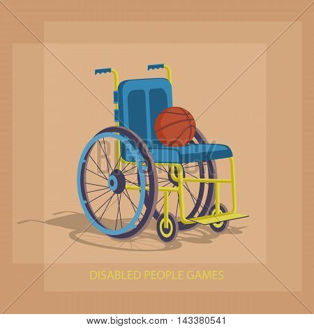 Wheelchair Sports. Basketball in a wheelchair to play. Stock image competition of people with disabilities to move. The stylized image. Disabled sports games.