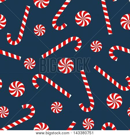 Seamless Christmas pattern with candy cane and lollipop. Happy New Year and Merry Xmas background. Vector winter holidays print for textile, wallpaper, fabric, wallpaper.