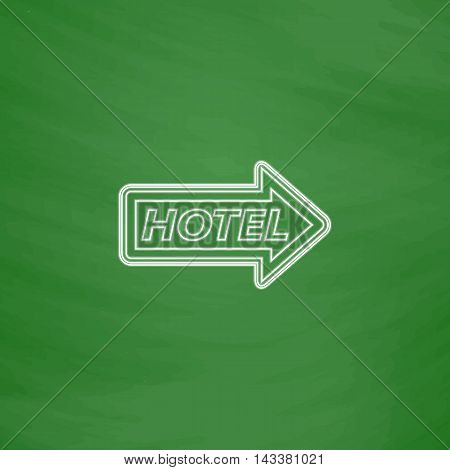 Hotel Outline vector icon. Imitation draw with white chalk on green chalkboard. Flat Pictogram and School board background. Illustration symbol