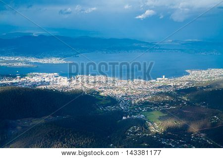 View from Mt Wellington over Hobart in Tasmania