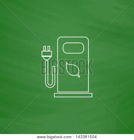 car charging station Outline vector icon. Imitation draw with white chalk on green chalkboard. Flat Pictogram and School board background. Illustration symbol
