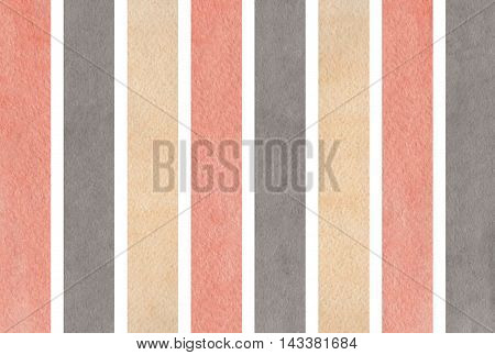 Watercolor Gray, Pink And Beige Striped Background.
