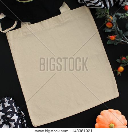 Blank cotton tote bag design mockup. Handmade shopping bags. Halloween Thanksgiving autumn holidays themed