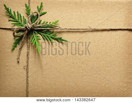 Brown cardboard tied with green twigs and rope. Chrisrmas present.