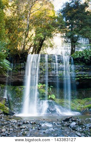 Russell Falls in Mt Field National Park on a cold winter's morning in Tasmania, Australia
